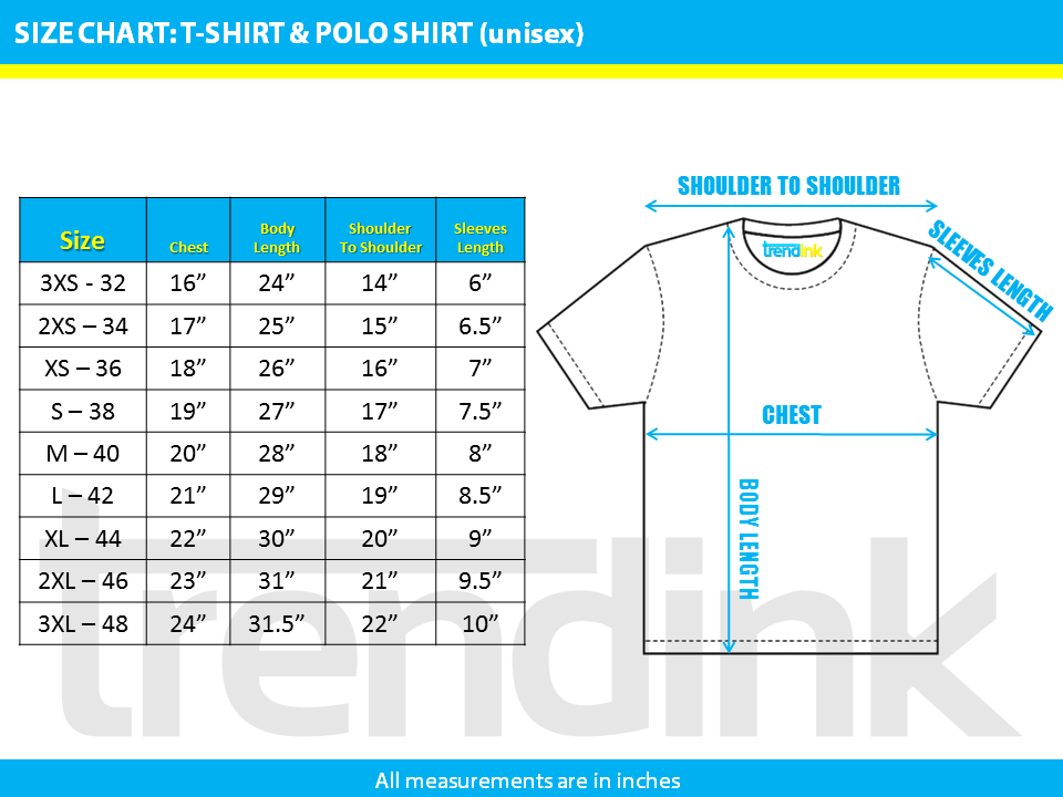 T-shirt & Polo Size Chart (Trendink) - NEW